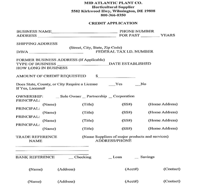 Mid Atlantic Plant Company Inc Wilmington DE Credit Application Page